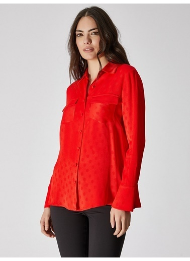 Vekem-Limited Edition Çift Cep Detaylı Puantiyeli Gömlek Kırmızı